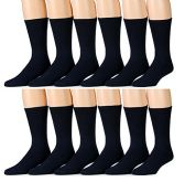 6 of Yacht & Smith Men's Loose Fit Non-Binding Soft Cotton Diabetic Crew Socks Size 10-13 Navy