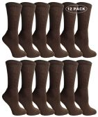 12 of Womens Cotton Crew Socks, Solid, Ladies Athletic Brown