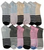12 of Women's Cotton No Show Ankle Socks, , Assorted Colorful Patterns