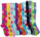 12 of Womens Knee High Socks Assorted Colors, Cotton Boot Socks , Aloha High Weed Print Knee High