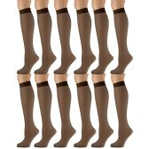 12 of 12 Pairs of SOCKSNBULK Trouser Socks for Women, 20 Denier Knee High Dress Socks (French Coffee)
