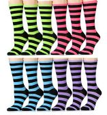 240 of Yacht & Smith Ladies Thin Cotton Striped Crew Socks, Size 9-11