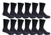 6 of Yacht & Smith Men's King Size Loose Fit Non-Binding Cotton Diabetic Crew Socks Black Size 13-16