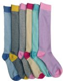 6 of 6 Pairs Of Mod And Tone Woman Designer Knee High Socks, Boot Socks (Pack C)