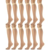 12 of 12 Pairs of SOCKSNBULK Trouser Socks for Women, 20 Denier Knee High Dress Socks (Tan)