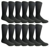 12 of Yacht & Smith Mens Fashion Designer Dress Socks, Cotton Blend, Solid Black Dress Sock