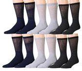 12 of 12 Pairs Unisex White Diabetic Socks for Neuropathy, Edema, Circulation, Comfort, by SOCKSNBULK (9-11, Assorted (Black, Heather Grey, Charcoal Grey))