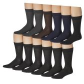 12 of Yacht & Smith Mens Solid Dress Socks, Cotton Blend, Sock Size 10-13