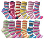 12 of Womens Fuzzy Socks Crew Socks Warm Butter Soft Assorted Stripes