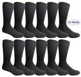 12 of Men's Executive Dress Series Black Dress Socks Cotton Blend Size 10-13