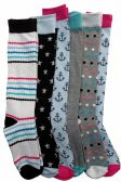 6 of 6 Pairs Of Mod And Tone Woman Designer Knee High Socks, Boot Socks (Pack F)