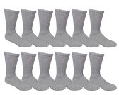 12 of Yacht & Smith Men's Loose Fit Non-Binding Soft Cotton Diabetic Crew Socks Size 10-13 Gray