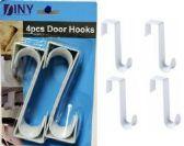 48 of Over The Door Hooks Hangers, Laundry Hanger White Plastic 4 Pack Coats Towels