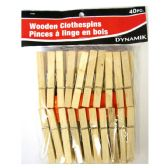 72 of 40 PIECE WOODEN CLOTHESPINS