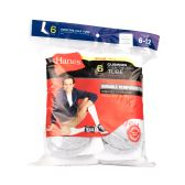 180 of Hanes Slightly Irregular Mens White Grey Toe Over The Calf Tube Size 6-12