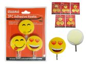 144 of 3 Piece Smiley Face Adhesive Hooks