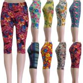 "48 of ""Soft Feel"" below the knee capri length leggings in assorted prints including floral and aztec"