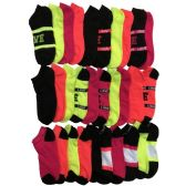 30 of Yacht & Smith Womens 9-11 No Show Ankle Socks Assorted Prints, Neon Stripes
