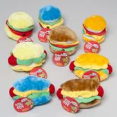 72 of Plush Hot Dog & Hamburger Dog Toy With Squeaker In Pdq Hang Tag