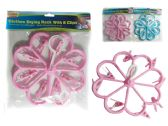 72 of Flower Shaped Clothes Laundry Drying Rack With 8 Clips. Blue, Pink