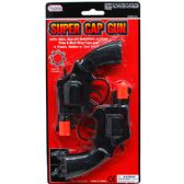"96 of 2PC 6"" SUPER CAP TOY GUN SET(REVOLVERS) IN BLISTER CARD"
