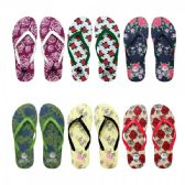 96 of Women's Floral Printed Flip Flops Assorted Colors