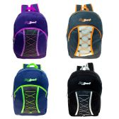 """24 of 17"""" Bungee Cord Lace Up Backpack in 4 Assorted Colors"""