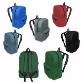 """48 of 17"""" Kids Basic Backpacks In 6 Assorted Colors"""