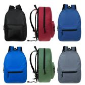 """24 of 15"""" Kids Basic Backpacks in 6 Assorted Colors"""