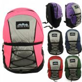 """24 of 17"""" Kids Padded Bungee Design Backpacks in 6 Assorted Multi-color Colors"""