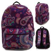 "24 of 17"" Kids Classic Padded Backpacks in PURPLE PAISLEY Print"