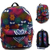 "24 of 17"" Kids Classic Padded Backpacks in LOVE Print"