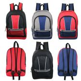 """24 of 17"""" Kids Sport Backpacks in 4 Assorted Colors"""