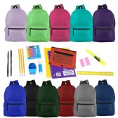 """24 of 17"""" Basic Backpacks in 12 Assorted Colors with School Supply Kits"""