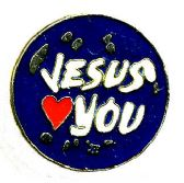"96 of Brass Hat Pin, ""Jesus (loves) You"