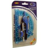 48 of Protractor + Compass - 2 pack - assorted colors