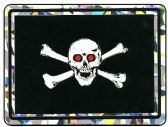 """96 of 3"""" x 4"""" Decal, Jolly Roger with red eyes"""