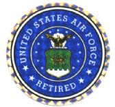 """96 of 3"""" Round decal, """"United States Air Force Retired"""