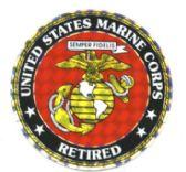 "96 of 3"" Round decal, ""United States Marine Corps Retired"""