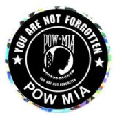 """96 of 3"""" Round decal, POW-MIA You Are Not Forgotten"""