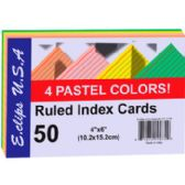 60 of Index Cards - Pastel Asst. Colors - 4x6- 50 ct