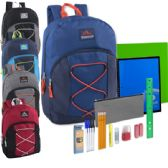 12 of Preassembled 17 Inch Bungee Backpack & 12 Piece School Supply Kit - 5 Colors