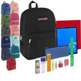 12 of Preassembled 17 Inch Backpack & 12 Piece School Supply Kit - 12 Colors