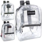 24 of Trailmaker Classic 17 Inch Clear Backpack - 3 Assorted Colors