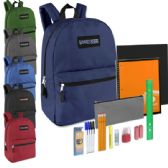 24 of Preassembled 17 Inch Backpack & 12 Piece School Supply Kit - 6 Colors