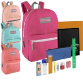 24 of Preassembled 17 Inch Backpack & 12 Piece School Supply Kit - Girls Colors