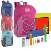 12 of Preassembled 17 Inch Bungee Backpack & 12 Piece School Supply Kit - Girls Colors