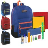 12 of Preassembled 18 Inch Double Zip Backpack & 12 Piece School Supply Kit - Boys Colors