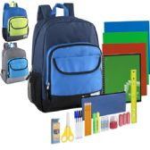 12 of Preassembled 18.5 Inch Color Block Backpack & 18 Piece School Supply Kit - Boys