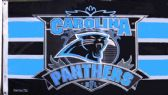 4 of 3' x 5' Carolina Panthers NFL licensed flag, End Zone design, with grommets. AMERICAN MADE FLAG